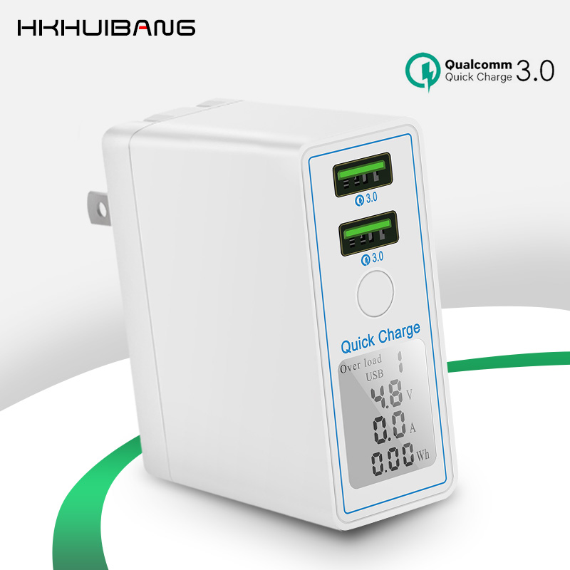 HKHUIBANG 36W USB Charger Quick Charge QC 4.0 3.0 Portable Charger For iPhone Samsung Xiaomi Fast Charging Adapter Led Display-in Mobile Phone Chargers from Cellphones & Telecommunications