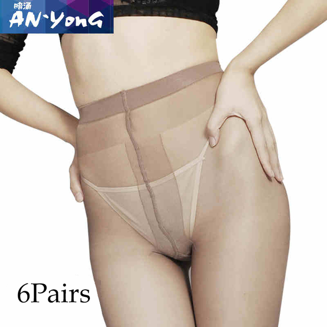 6 pieces T crotch Thin invisible pantyhose Women's pantyhose  sexy satin Stockings hose Fitness Tights sexy lingerie