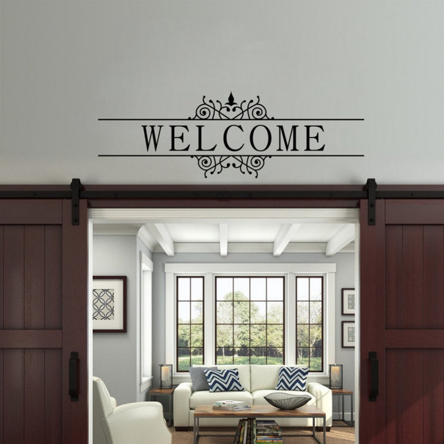 Welcome Quote Wall Decal Family Word Art Vinyl Wall Sticker for Home Decor Mural Wallpaper & Welcome Quote Wall Decal Family Word Art Vinyl Wall Sticker for Home ...