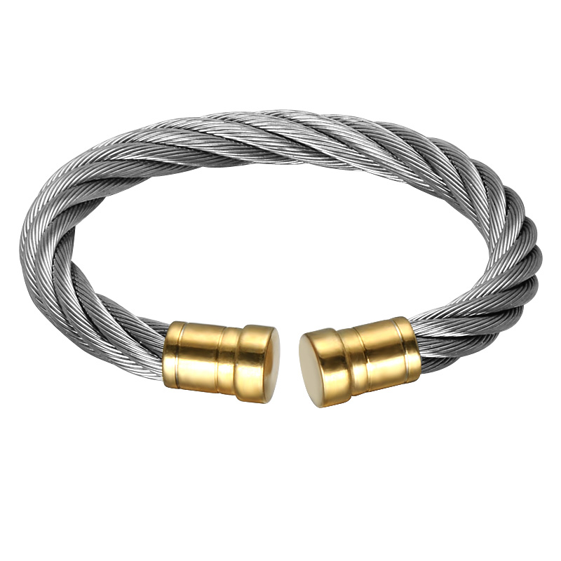 HIP Double Two Rone Gold Color Men Cuff Bracelet Bangle Stainless Steel Adjustable Wire Bangle For