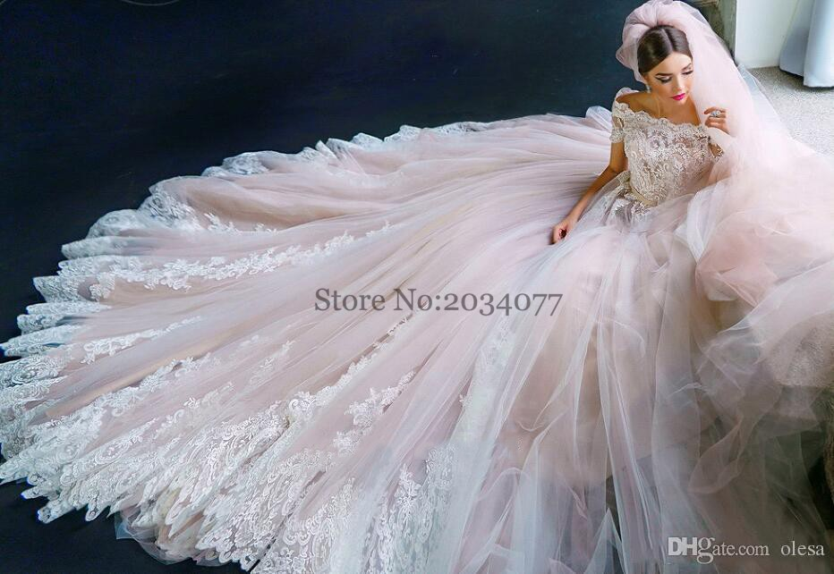 Designer Blush Tulle Wedding Dress Lace Fairy Tail Bridal Gown Off ...
