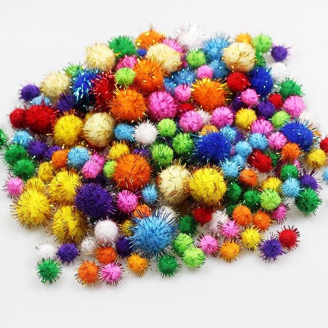 100 Pçs/lote Lantejoulas Pompom Bola de Pelúcia Bola De Pêlo Cor Misturada Crianças Criativas Artesanais Material Glitter Bola de Espuma DIY Fontes do Ofício