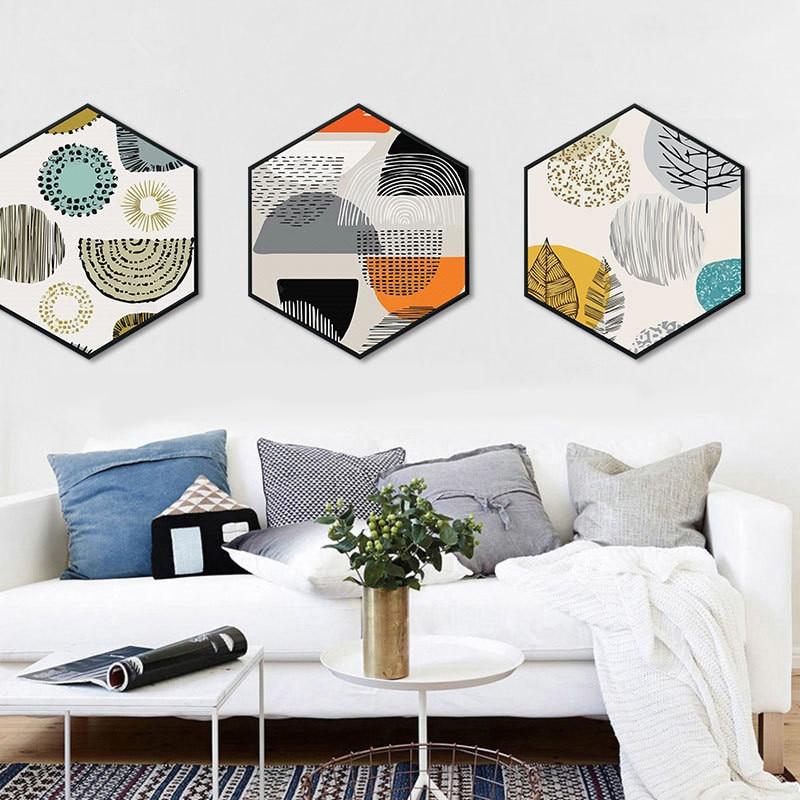 Moderne en eenvoudige woonkamer Decoratieve schilderijen Noordse - Huisdecoratie