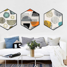 Modern and simple living room Decorative paintings Nordic style Abstract leaves Entrance wall paintings hexagon Hanging pictures цена 2017