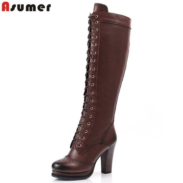 cdc1ace4ab0 ASUMER 2018 New winter lace up pu+ genuine leather boots shoes high heels women s  knee high