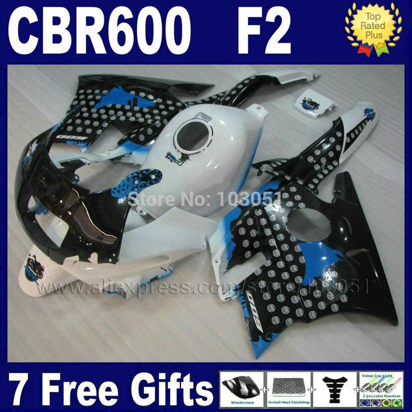 Custom factory fairings kit for Honda CBR600 F2 1991 1992 1993 1994 CBR 600 F2 92 93 CBR600 F 91 94 white black fairing bodykits