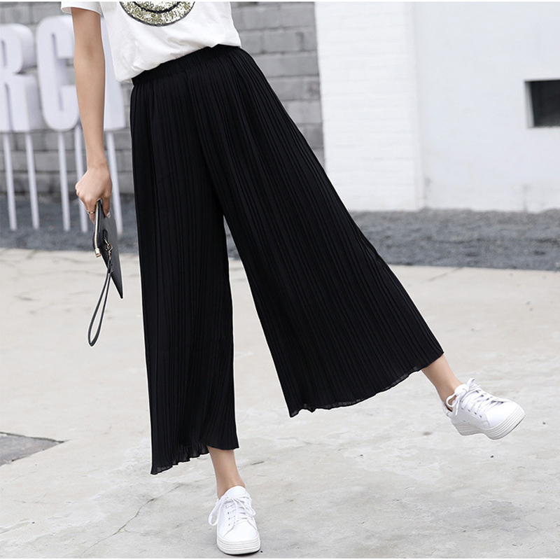 2019 Summer Bohemian High Waist Pleated Chiffon   Wide     Leg     Pants   Women Fashion Solid Palazzo   Pants   Loose Flare Pantalones Mujer