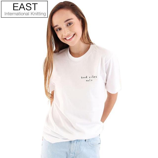 East knitting h926 nieuwe zomer basic wit/zwarte vrouwen t-shirt eenvoudige o-hals top tees goede vibes only print harajuku tshirt