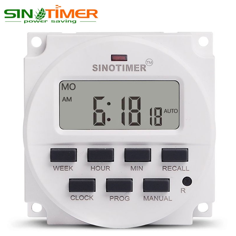 1.6 Inch BIG LCD 220V AC 7 Days Weekly Programmable Timer Switch Time Relay Built-in Rechargeable Battery for Lights Control
