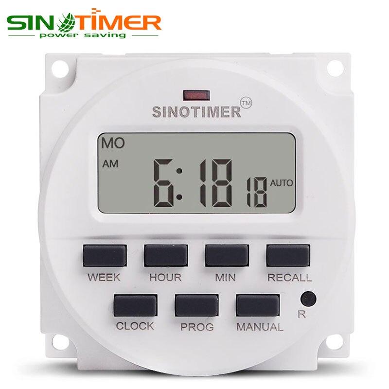 1,6 pulgadas LCD grande 220 V AC 7 días semanal programable temporizador relé de tiempo batería incorporada recargable para luces control