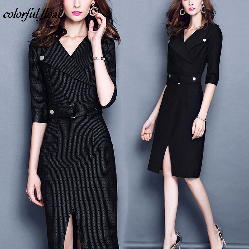 Large Size Womens 2017 Autumn New Lapel Five Point Sleeve Waist Split Bag Hip Dress Female