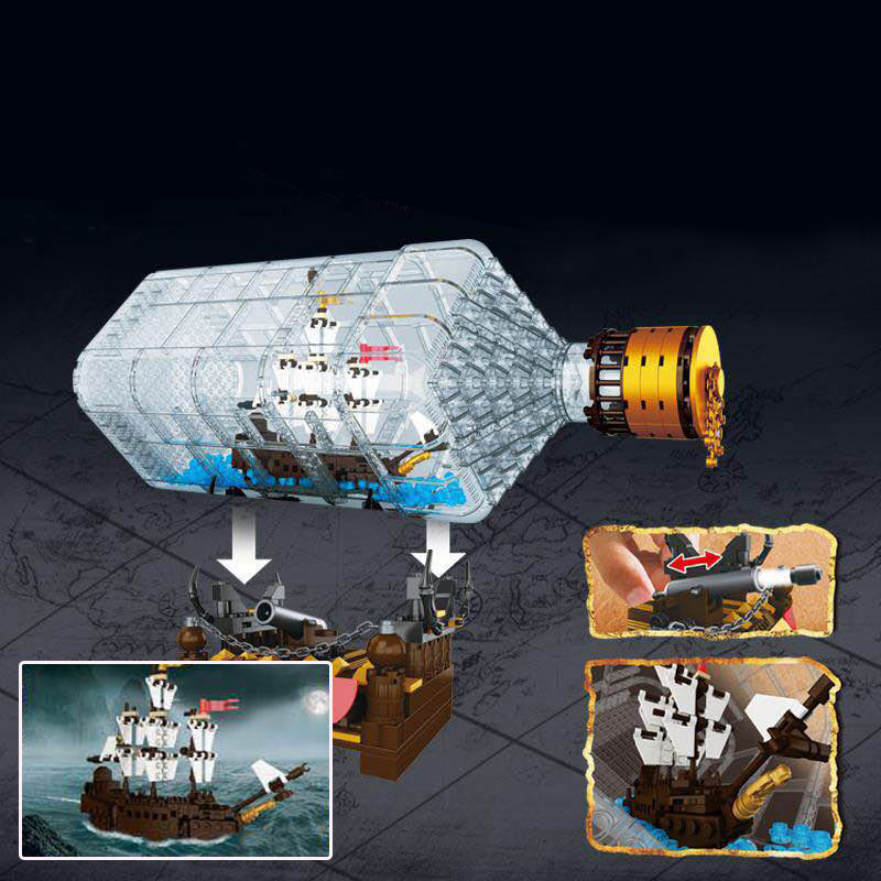 775Pcs Lepin 16045 Genuine Creative Series The Ship In the Bottle Set Building Blocks Bricks Toy Model As Christmas Boy Gift 8 in 1 military ship building blocks toys for boys