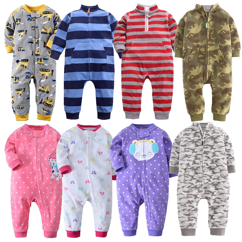 2019 Baby clothes bebes jumpsuit collar fleece newborn pajamas infants baby boys clothes toddler boys clothes coveralls outwear(China)