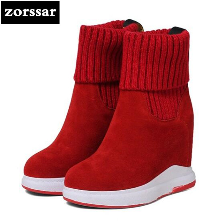 {Zorssar} 2018 winter Ladies Shoes High heel ankle elastic sock boots women platform shoes botas mujer invierno cortas