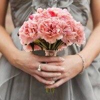 1pcs Bridal Bouquet Silk Peony Artificial Flowers Luxury Rhinestones Wedding Decoration Bouquet Handmade Silk Ribbon Flowers
