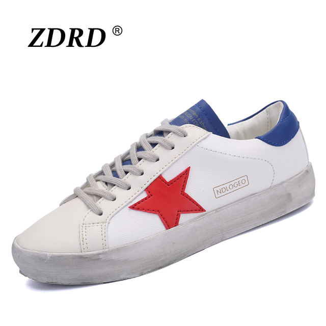 New Designer Golden Genuine Leather Women Casual Shoes Lovers Shoes Star Shoes Footwear Zapatillas