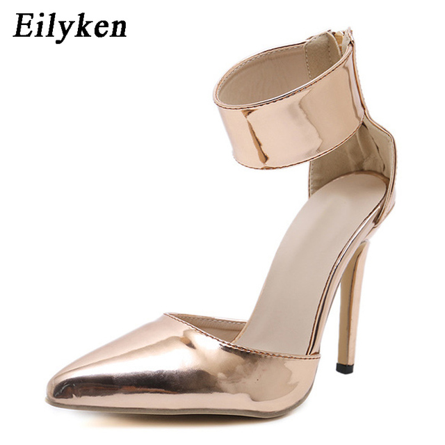 Eilyken Champagne Gladiator Women Pumps Zipper Pointed Toe High Heels Sexy Lady Shoes Thin Heels Chaussure Femme Autumn