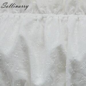 Image 5 - Женская блузка Sollinarry, белая блузка с вырезом лодочкой и рукавами фонариками, 2019
