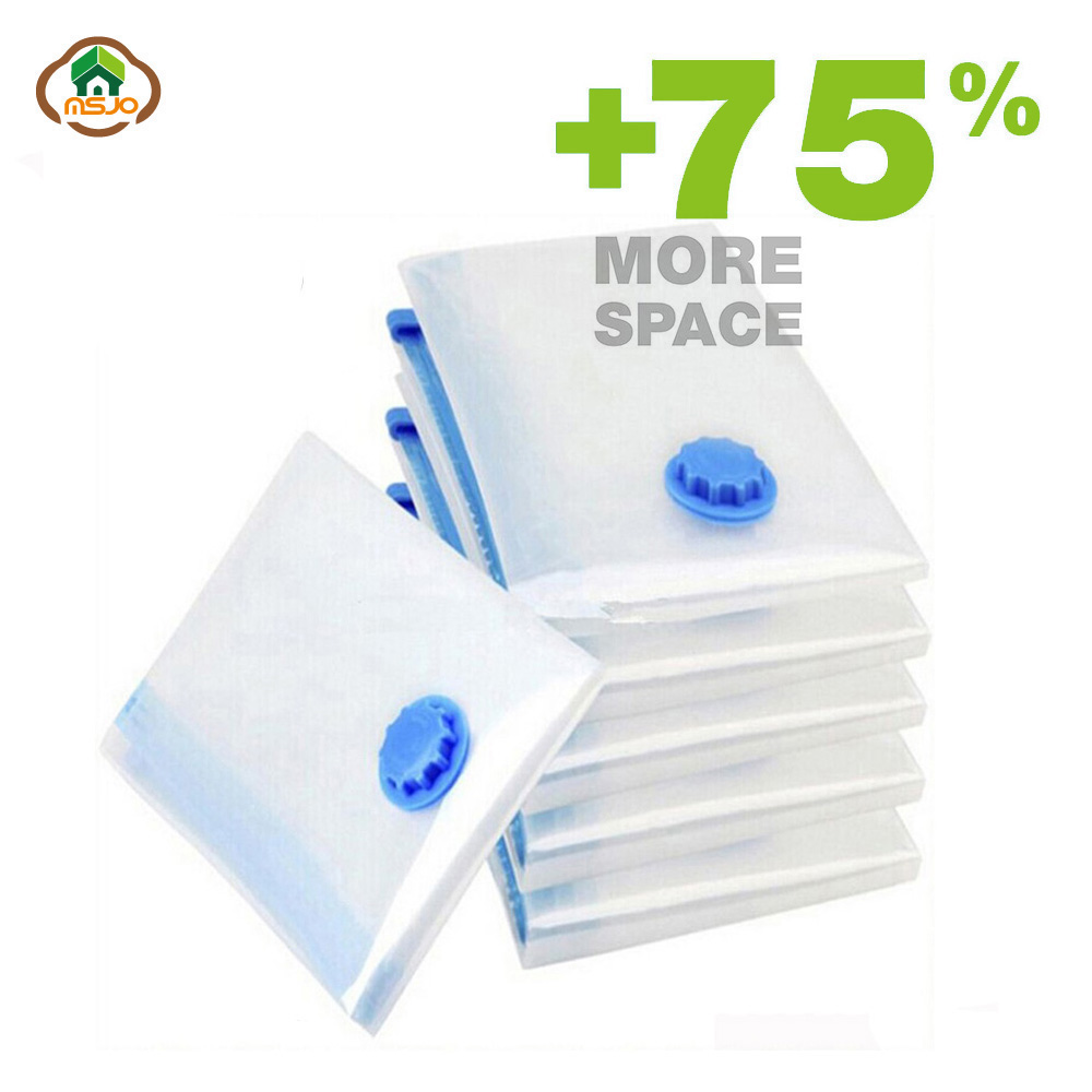 Msjo Vacuum Bags For Clothes Transparent Foldable Large Size Compressed Home Clothes Organizer Saving Space Seal Storage Bag