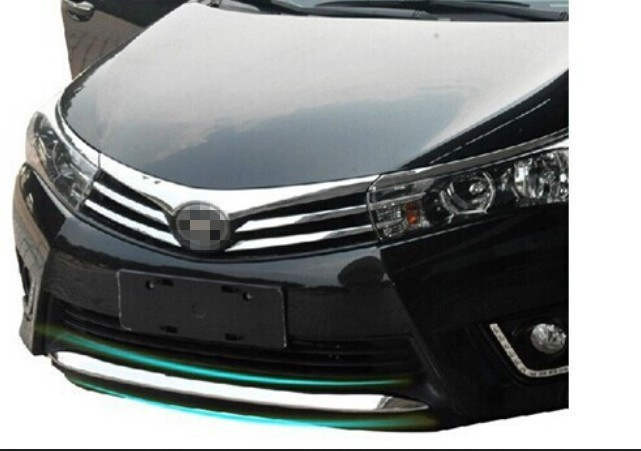 High quality stainless steel Front Grille Around Trim Front bumper Around Trim Racing Grills Trim 2014 For Corolla for toyota corolla 2011 2012 2013 car protection abs chrome trim front racing up grid grill grille around frame lamp panel 1pcs