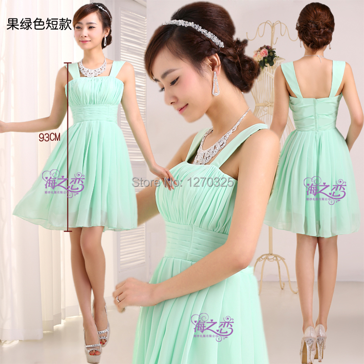 Brautjungfernkleid Hot Chiffon ALine Mint Green Red Blue Purple Bridesmaid Dress Short Vestidos Dama De Honor Boda Cheap