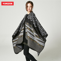 Autumn Winter Fashion Shawl Poncho Women Loose Outwear Coat Oversized Knitted Soft Poncho Cape Shawl YU064