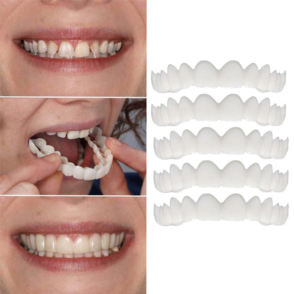 Dental Veneer5PC Temporary Smile Comfort Fit Cosmetic Teeth Denture Teeth Top Cosmetic VeneerOral Home Caredens Patch