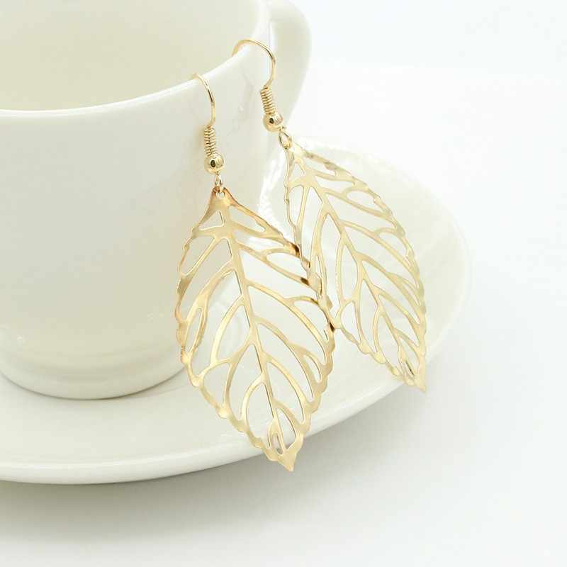 Hot sale New Fashion Leaf Earring New Design Bohemian Hollow Dangle Drop Earrings Charm Gold Jewelry For Women Wholesale