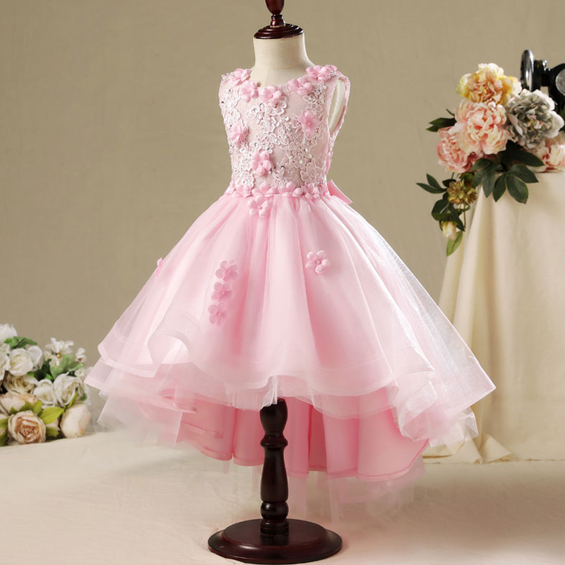 Sleeveless Kids Summer Dress Princess Girls Dresses Children Royal Costume for first communion Dress Appliques Ball Gown A18 summer princess dress 2017 hot sale sleeveless children girls dresses clothing fashion ball gown kids girl star sky dresses page 3