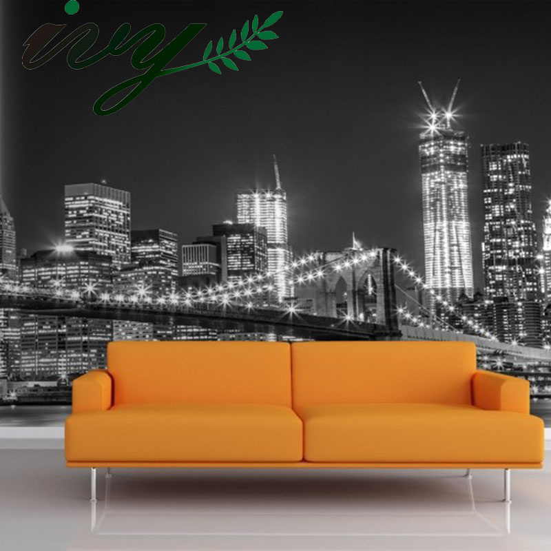 IVY MORDEN City Night Large Wallpaper 3D Photo Wall Paper for Walls Custom Murals Home Decor Living Room TV Background Greyscale wallpaper for walls 3 d large photo wallpaper cartoon wallpaper for child room tv background wall paper wallpaper modern