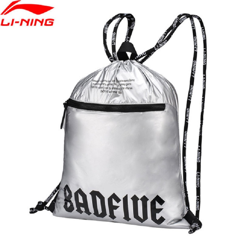 Li-Ning 2018 Unisex BAD FIVE Basketball Bags Polyester Classic Adjustable String Sliver Li Ning Sports Backpack ABSN088
