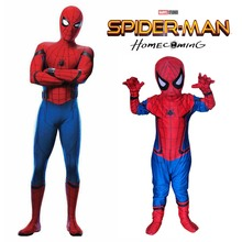 New Spiderman Homecoming Cosplay Kids Costume 2017 Tom Holland Spider Man Bodysuit with Mask Teen Boys Superhero Costume Outfit