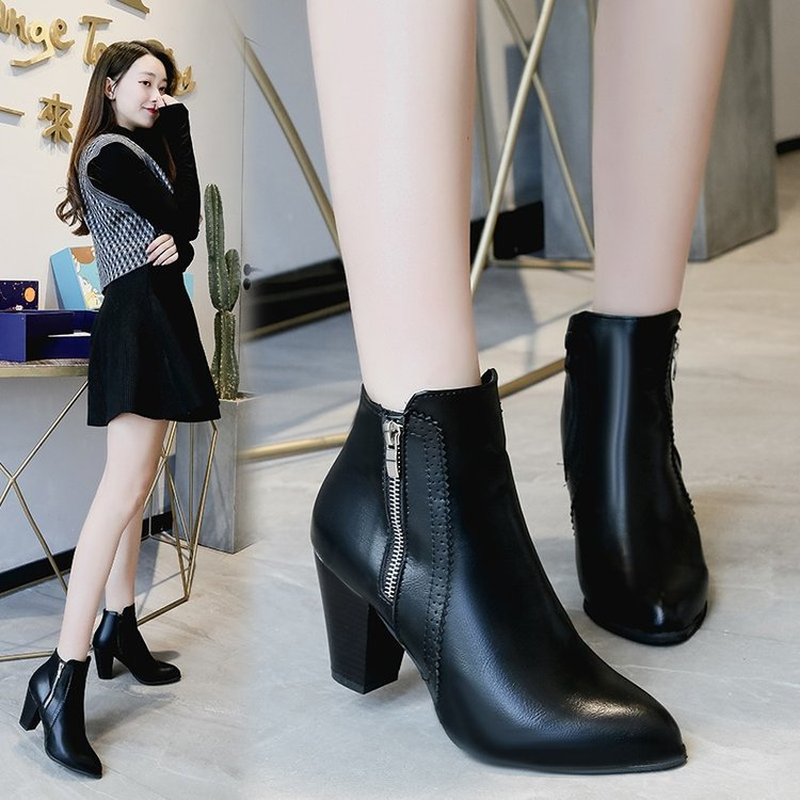 Women 39 s Boots Autumn Winter Warm Explosions Ankle Boots Women Fashion Square Heel Side Zipper PU Female Short Boots Size 35 43 in Ankle Boots from Shoes
