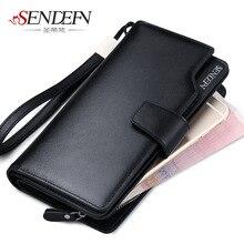 SENDEFN Luxus Echtem Leder Geldbörse Männer Reißverschluss Münzfach Lange Männer Handtasche Kartenhalter Männlichen Brieftasche