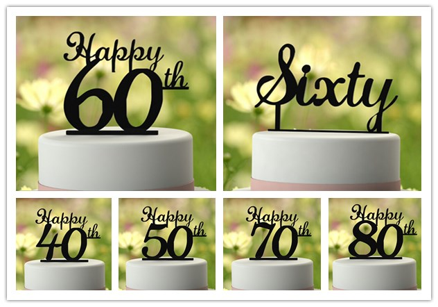 Excellent 40 50 60 70 80 Acrylic Cake Topper Black Happy Birthday Cake Flags Funny Birthday Cards Online Aboleapandamsfinfo
