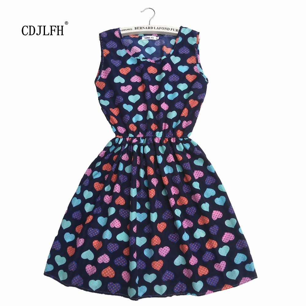 CDJLFH Summer dress Peach of love sexy casual black sleeveless beach slim 2017 chiffon Korean printed women dress S M L XL XXL