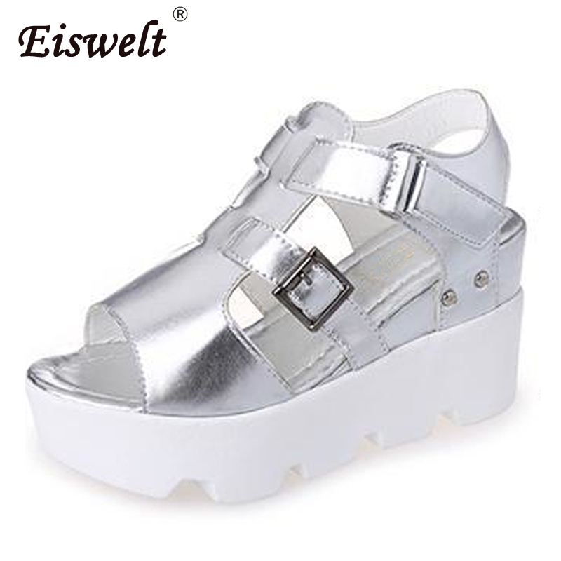 EISELT 2017 New Fashion Women Gladiator Sandals Women Casual Wedges Summer Shoes Sandals Shoes Women Sandalias Mujer#ZQS018 2017 summer new rivet wedges sandals creepers women high heel platform casual shoes silver women gladiator sandals zapatos mujer