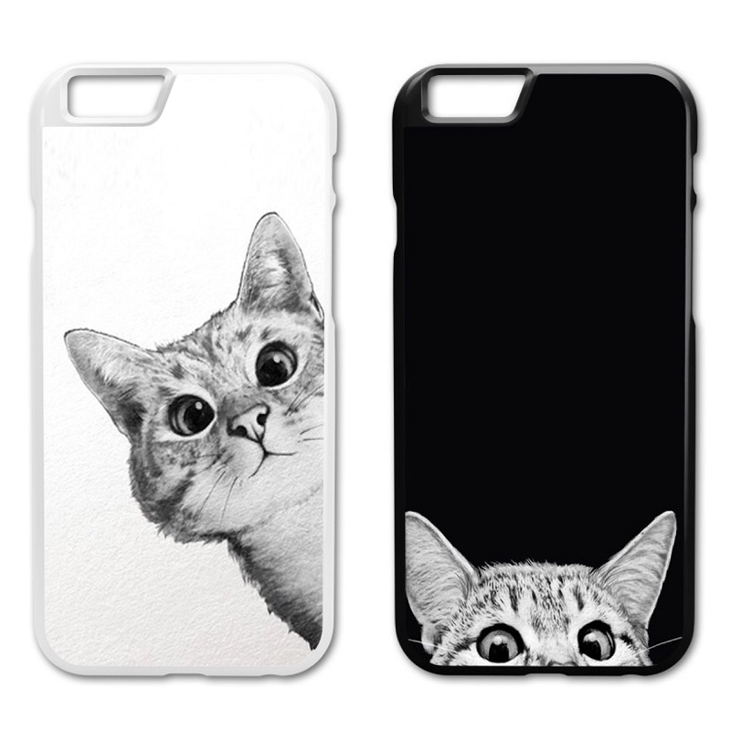 I See You My White Cat Plastic Cover Iphone 4 4S 5 5S 5C 6 6S 7 Plus  Samsung S3 S4 S5 Mini S6 S7 S8 Edge Plus A3 A5 A7