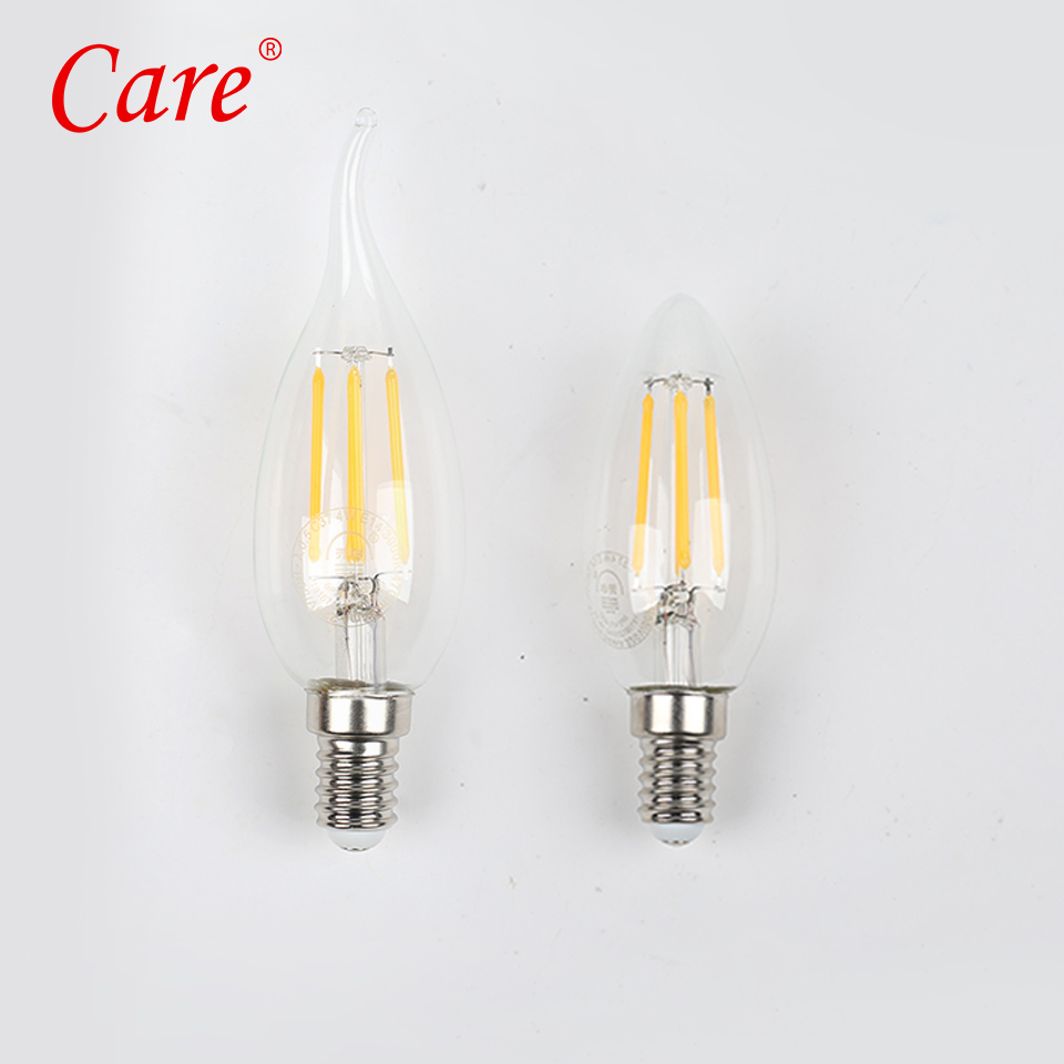Care LED Filament Bulbs E14 4W Warm Light 3000K Candle/Tail LED Light Bulb Lamp Clear Glass Filament Edison Lamp Bulbs