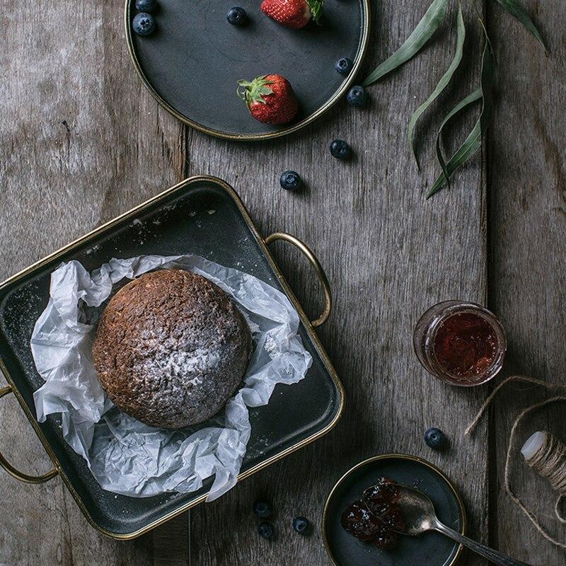 Винтажный античный круглый металлический сервировочный поднос, креативный Ретро дисковый хлебный лоток для хранения посуды, обеденные тарелки, посуда для дома-5