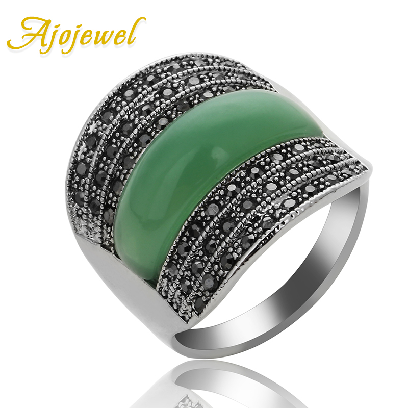 Ajojewel 2017 Original Jewelry Green/Black/Red Stone Geometric Vintage Rings For Women With Black Rhinestones Bijoux