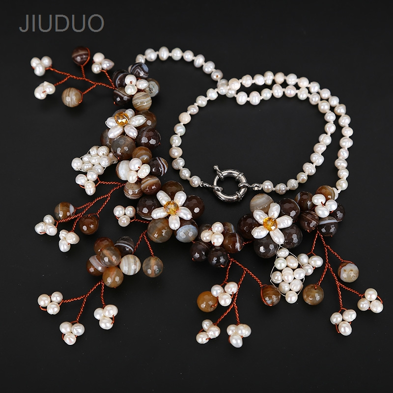 Natural pearl Necklace Natural agate Necklace for Women Fashion Popular Jewelry For Necklaces stylish natural black agate necklace 43cm