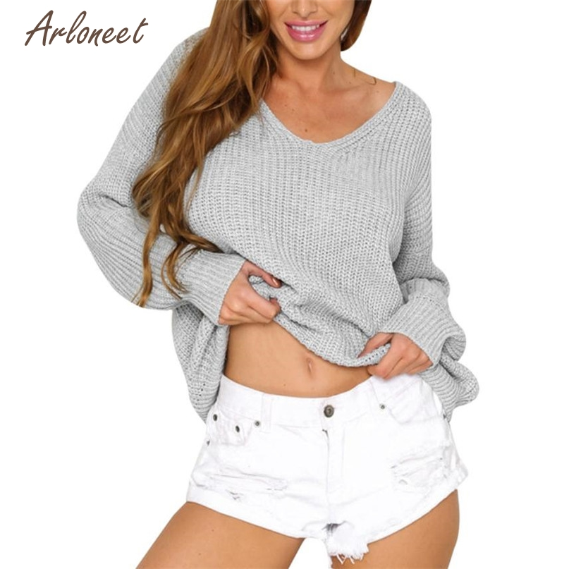 Arloneet Fashion 4 Colors Women Casual Solid Long Sleeve Knitted Backless Bandage Sweater Tops Blouse 2017 Hot Dropshipping OB19