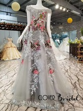 CloverBridal 2018 New Silver Lace Tulle Cap Sleeves Embroidery Flowers Birds Patterns Bling Crystals Celebrity Dresses