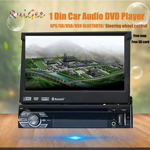 "single 1din car dvd player universal 7"" sliding HD digital touch GPS navigat car audio stereo Bluetooth car GPS with rear camera"