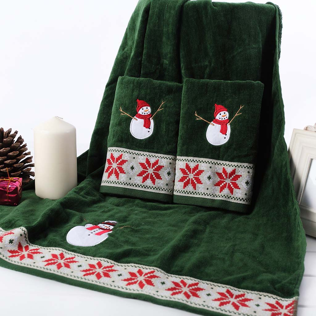 3pcs/Set Face Hand Hair Towel Bath Towel Set Quickly-Dry 100% Cotton Embroidery Christmas Decoration New Year Gift