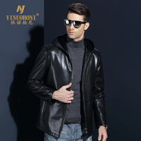 Men Winter Hoody Jackets Genuine Leahter Jacket For Male Natural Leather Coat Men Top Quality Outerwear