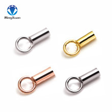 Купить с кэшбэком MINGXUAN 10pcs 925 Sterling Silver Hole 1.1mm End Caps Crimp Beads Covers Connectors for DIY Jewelry Making Findings