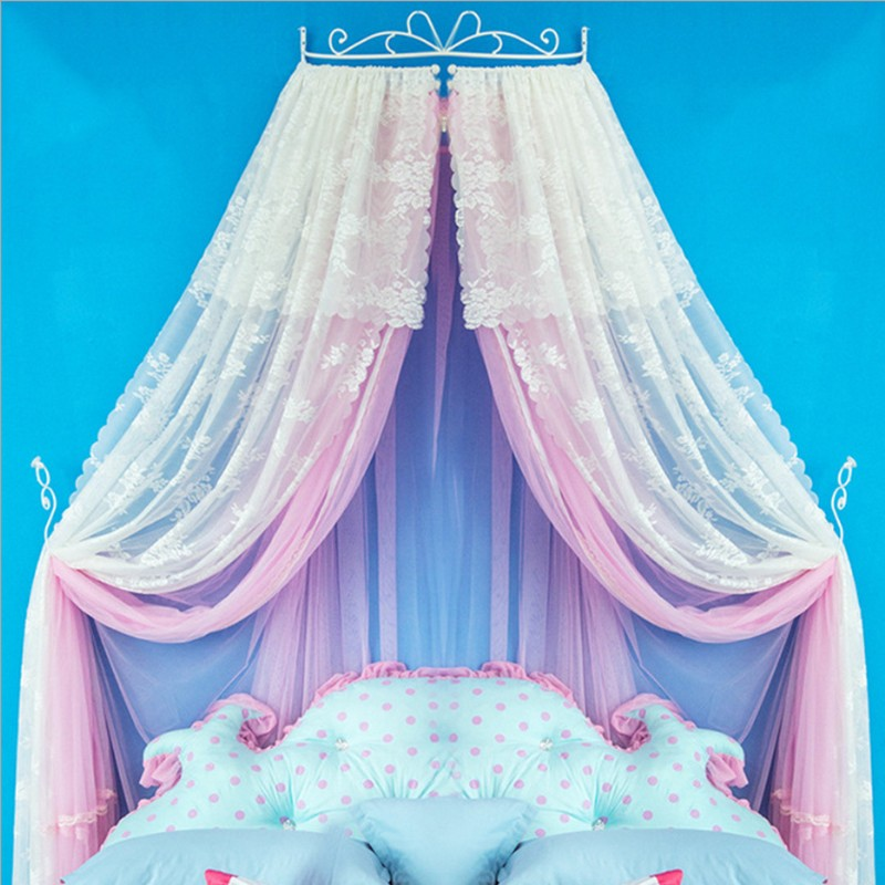 2019 Latest Design Luxury Palace Princess Pastorable Mosquito Net Floral Printing Bed Mantle Bed Curtain Insect Screen Lace Hollow Iron Bed Frame Promote The Production Of Body Fluid And Saliva Baby Bedding