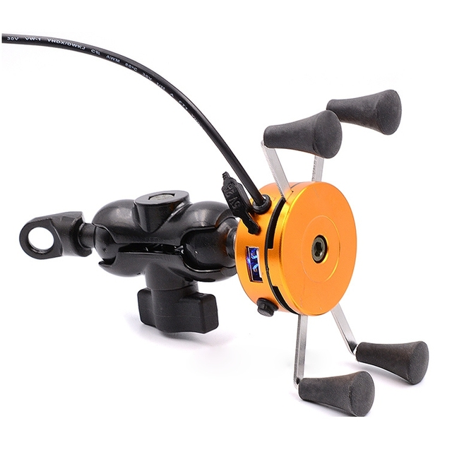 2in1 USB Universal Charging Motorcycle Phone Holder 360  Motorbike Universal Rotating Mount Mobile Rearview Mirror Phone Stand
